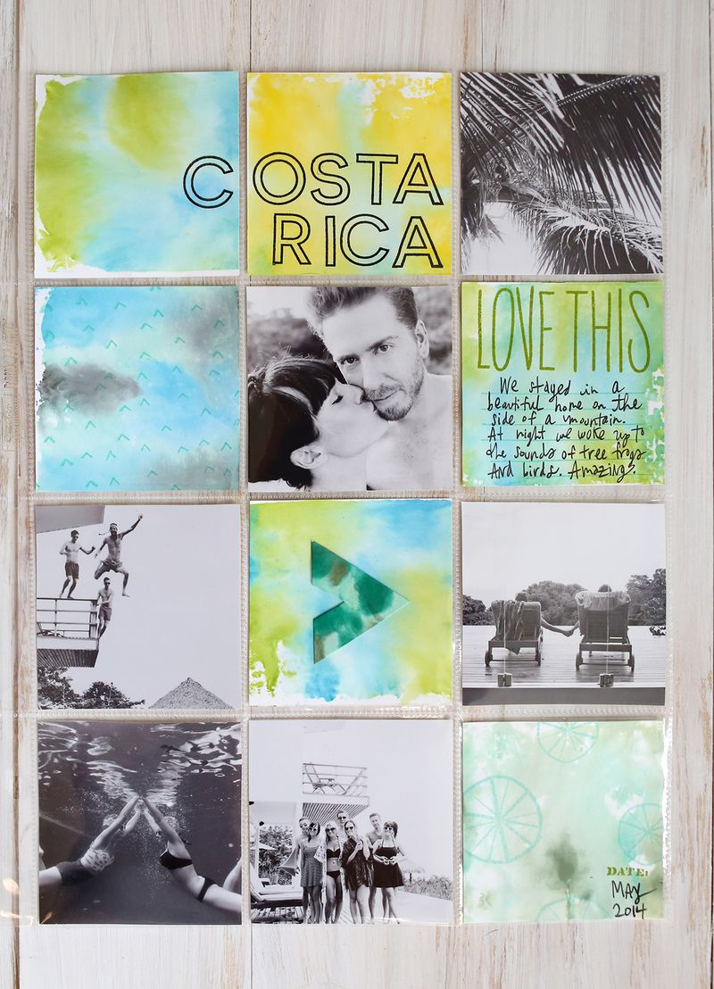 Make your own watercolor cards for a scrapbook page! (click through for simple how-to!)