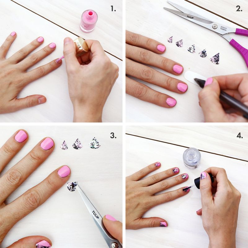 Use nail stickers to create geometric shaped prints on nails (click through for tutorial)
