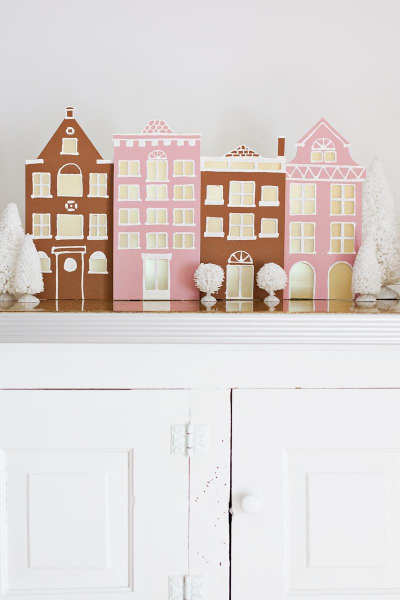 simple winter village diy a beautiful mess. Black Bedroom Furniture Sets. Home Design Ideas