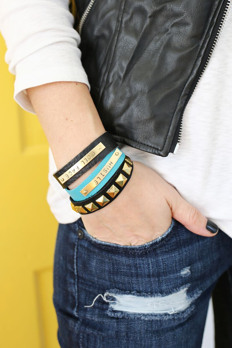 DIY Stamped Bar Leather Bracelet