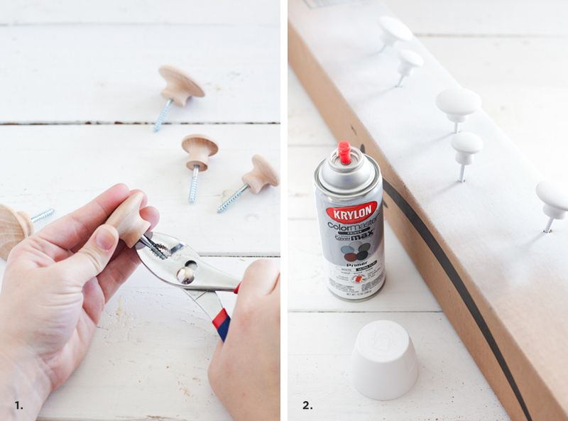 How to use drawer knobs as wall hooks, without using a back board. So cute and practical!