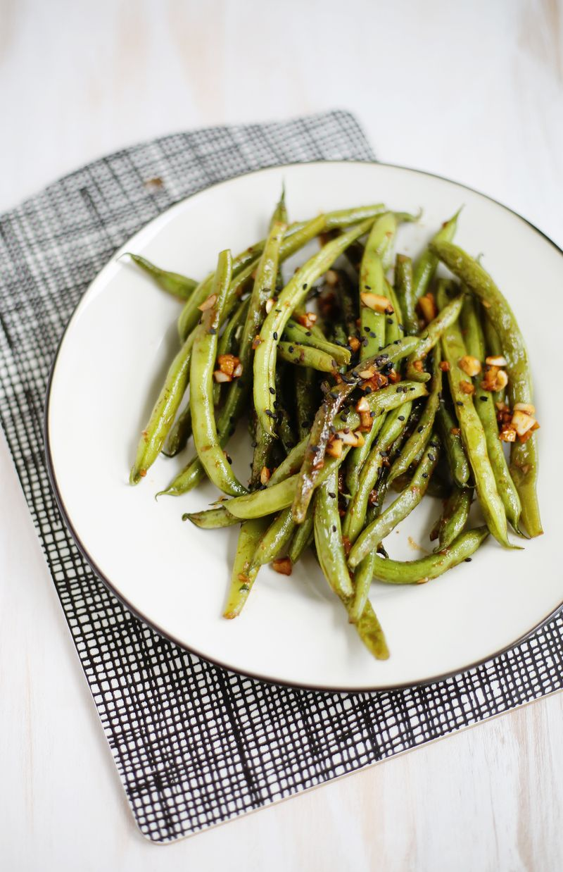 Garlic miso green beans