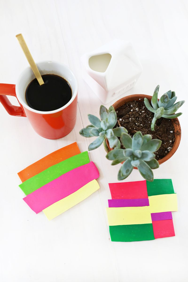 Colorblocked Clay Coasters (click through for tutorial)