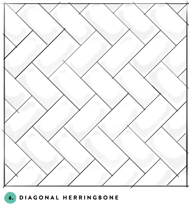 What's your favorite subway tile pattern? 6- diagonal herringbone
