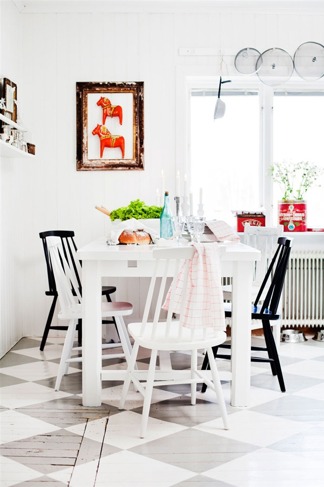 Dala horses in a Scandinavian dining space