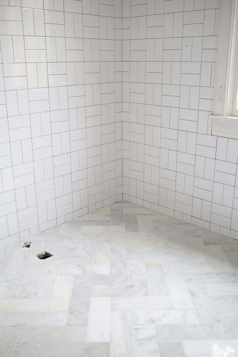 Try This- Herringbone Marble Tile