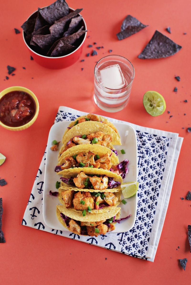 Sriracha Roasted Cauliflower Tacos With Quick Red Cabbage Slaw A Beautiful Mess