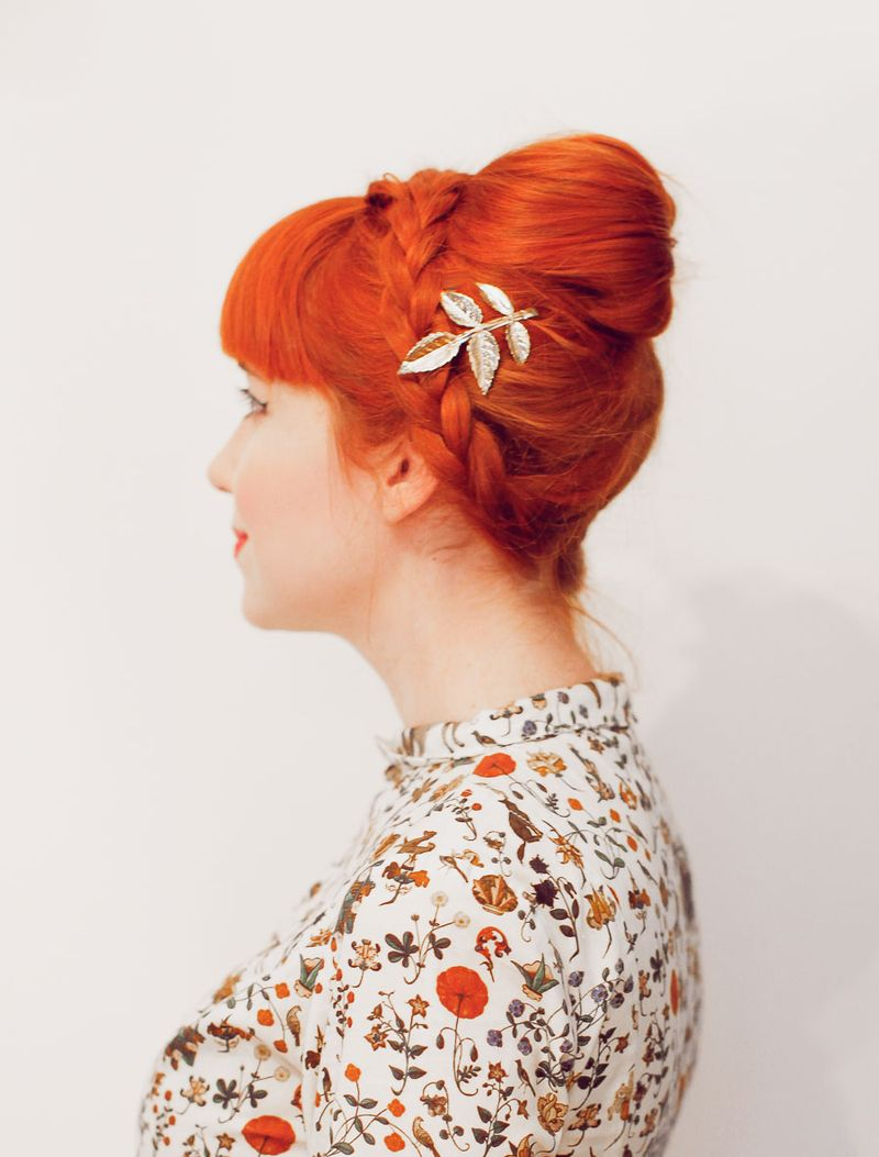 No tease braided bouffant (click-through for tutorial)