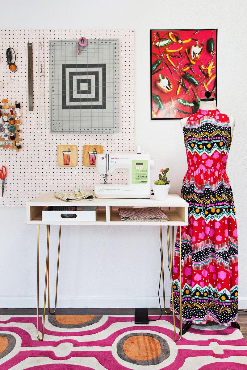 Emma's DIY sewing desk (via abeautifulmess.com)