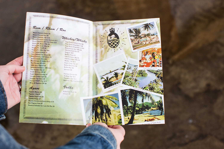 The Golden Girl Rum Club spirit menu