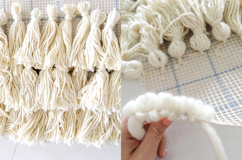 Step 2 attach tassels Step 3 begin filling mesh