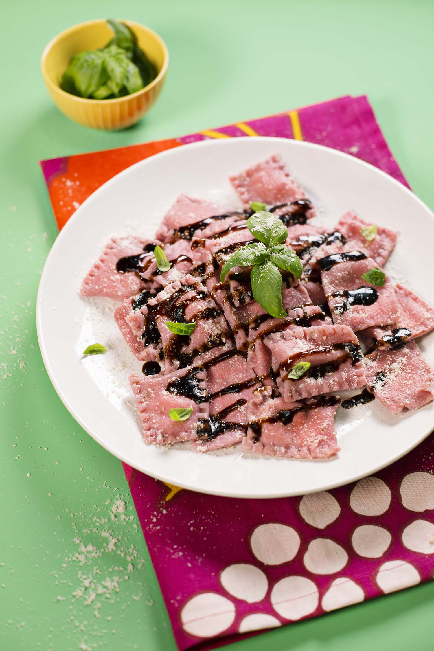 Strawberry Ravioli with Balsamic and Basil (via abeautifulmess.com)
