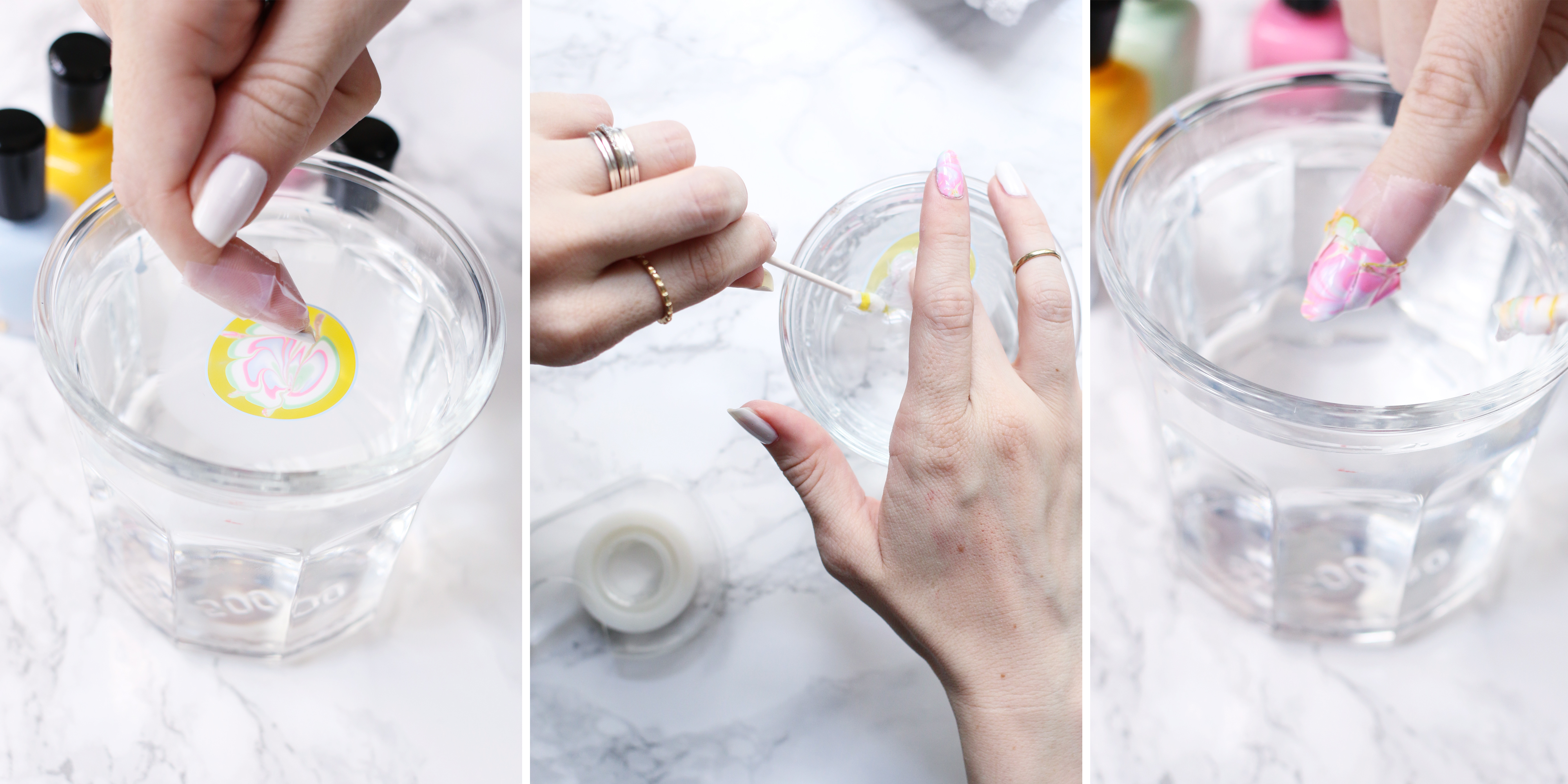 Sherbet Water Marble Mani