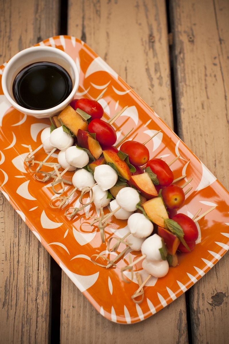 Peach caprese skewers with balsamic vinegar