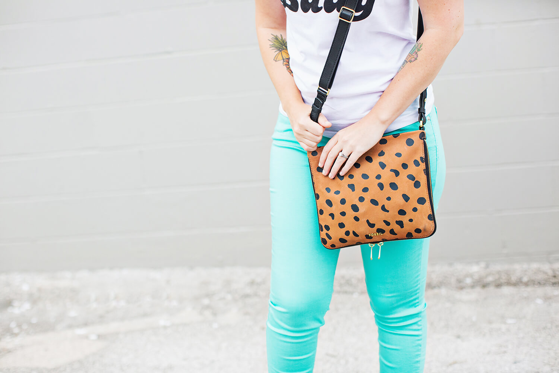 Faux lepord purse