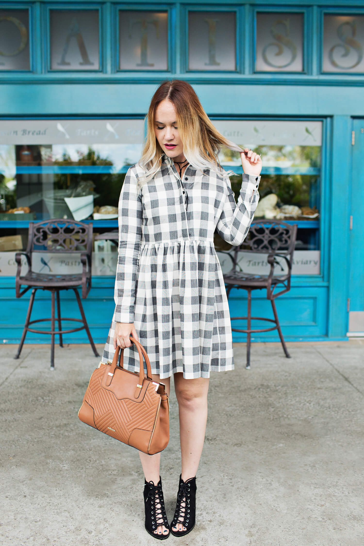 Gingham dress for fall