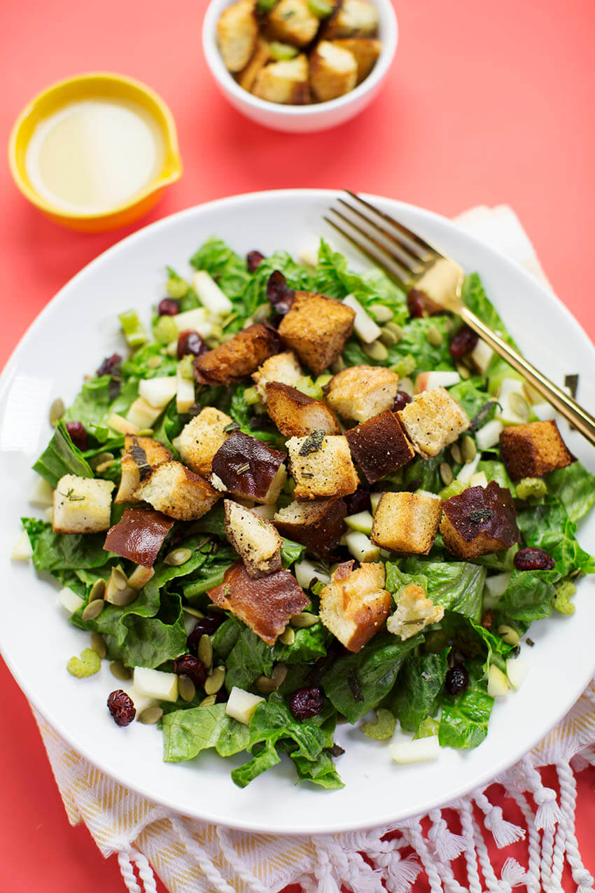 Autumn Bliss Salad with Stuffing Croutons (via abeautifulmess.com)