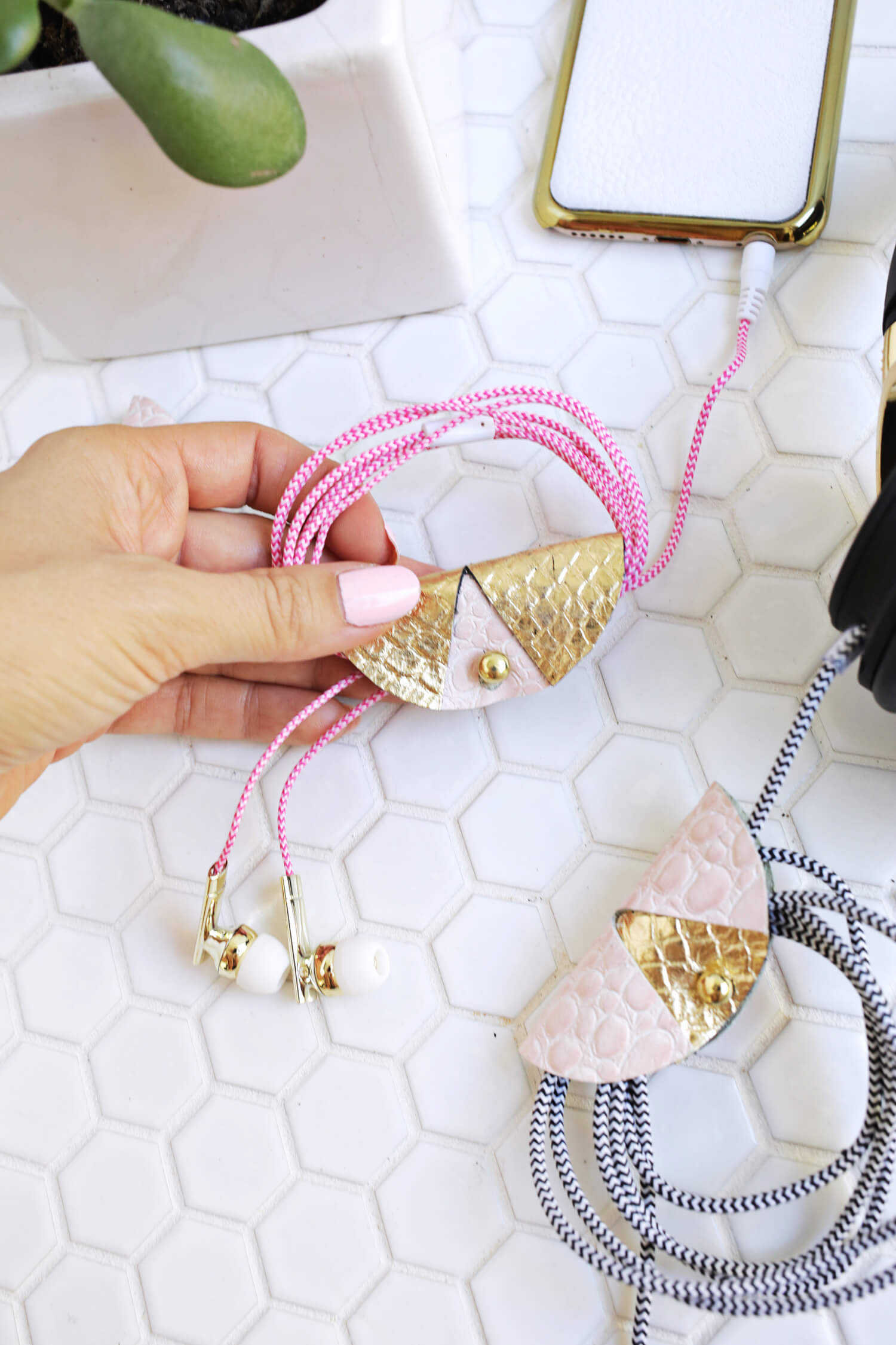 Easy Leather Cord Keeper DIY (click through for tutorial)