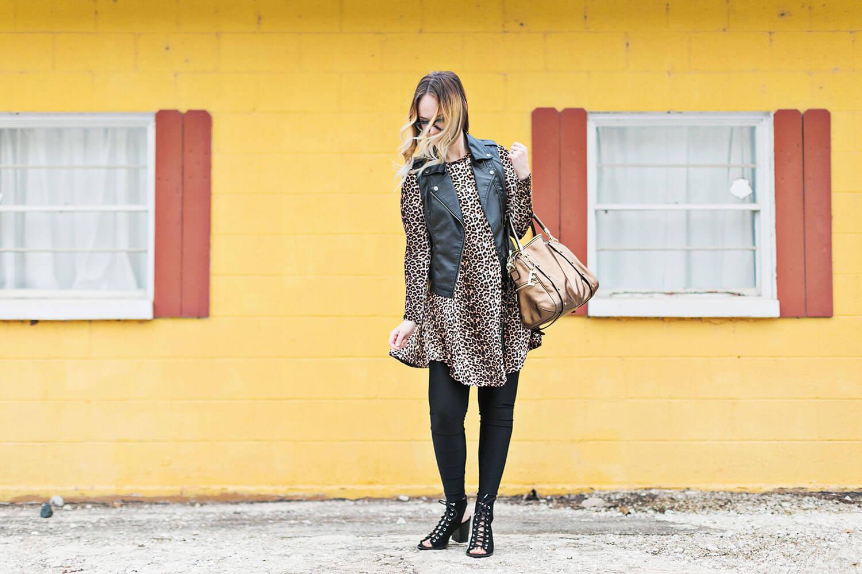 Leopard dress and black leggings